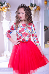 """Нарядное платье """"Майя"""" красного цвета."""