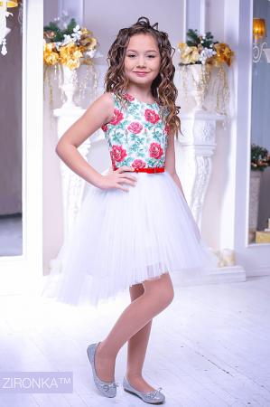 """Нарядное платье """"Флоренция"""" белого цвета.Нарядное платье без рукавов, с пышной юбкой. Оригинальный принт платья, придает яркость и красоту. Красивое платье для настоящих модниц! Оригинальное и красивое платье для любого торжества! Вверх платья из полиэстера, подкладка из хлопка, юбка из нескольких слоев, что придает пышность."""
