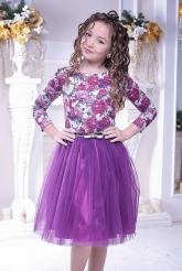 """Нарядное платье """"Майя"""" темно-фиолетового цвета."""