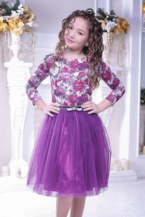 """Нарядное платье """"Майя"""" темно-фиолетового цвета.Оригинальный принт платья, придает яркость и красоту. Красивое платье для настоящих модниц! Оригинальное и красивое платье для любого торжества! Вверх платья из полиэстера, подкладка из хлопка, юбка из нескольких слоев, что придает пышность."""