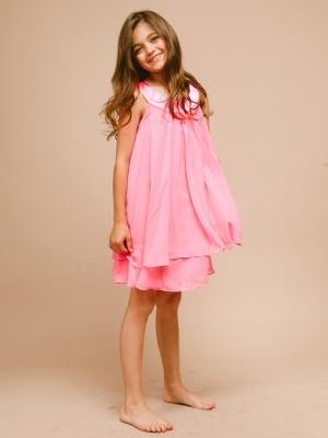 """Нарядное шифоновое платье """"Лаура"""" ярко-розового цвета. Праздничноеплатье из шифона с атласными вставками двух уровневой юбкой. Легкое и изящное платье для модниц!"""