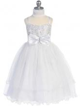 Нарядное белое платье с блестками на корсете и шифоновым шарфиком.