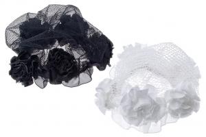 Сетки на пучок белого и черного цвета с цветочками.Красивый аксессуар для волос. Необходимый аксессуар для танцев.