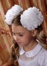 """Школьный бант белого цвета на резинке """"Лилия""""."""