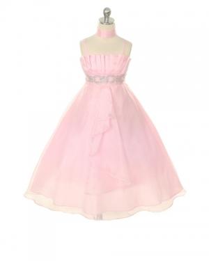 """Нарядное платье """"Гелла"""" розового цвета.Нежное платье, украшенное стразами на поясе и с длинной юбкой. Дополняет платье нежный шарфик. В этом платье на любом празднике или вечеринке ваша юная леди будет сиять и чувствовать себя красавицей!"""