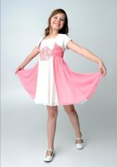 """Шифоновое платье """"Ульяна"""" молочно-розового цвета с болеро."""