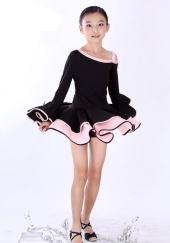 "Платье для танцев ""Латина"" черного-розового цвета."