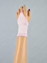 Короткие детские атласные перчатки-митенки.