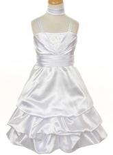 """Нарядное платье """"Ливия"""" белого цвета с шарфиком."""