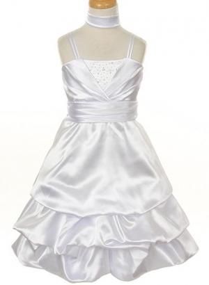 """Нарядное платье """"Ливия"""" белого цвета с шарфиком.Оригинальное и пышное платье для настоящих модниц!Платье на тонких бретельках, вверх платья украшен стразами, а юбка пышная, в форме балона. Это роскошное платье идеально для любых праздников и торжеств. Идеальный наряд на Новый год!"""