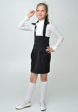 Школьная юбка с лямками и воротником серого цвета.Юбка с удлиненной кокеткой и лямками для девочек. Красивая и нарядная юбка, можно носить со школьной блузкой. Также данную юбку можно носить как в школу, так и в повседневной жизни.