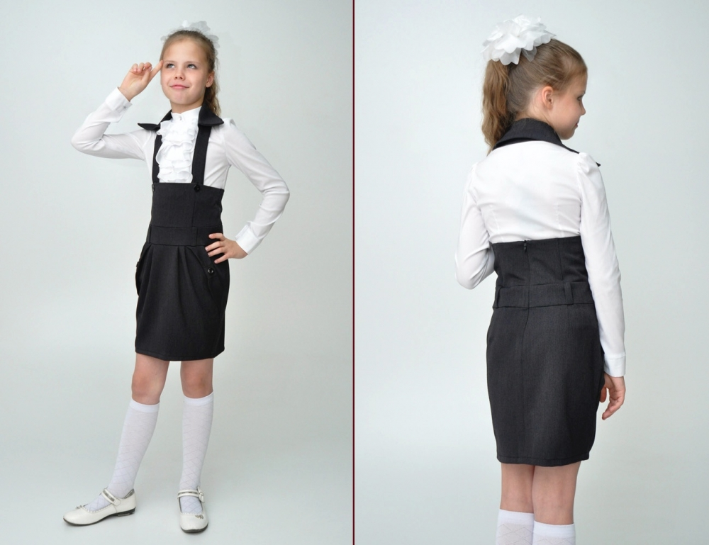 Школьная юбка с лямками фото
