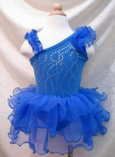 """Купальник для танцев """"Сияние"""" синего цвета."""