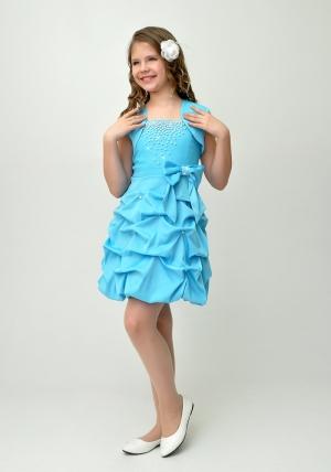 """Нарядное платье """"Мариэтта"""" голубого цвета с болеро..Изысканное платье со стразами и оригинальной юбкой. Красивое платье для настоящих модниц. Платье на молнии и шнуровкой, что хорошо для регулировки объема. Данный наряд идеален для любых торжеств и праздников."""