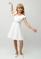 """Нарядное платье с болеро """"Юлия"""" молочного цвета."""