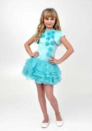 """Элегантное платье """"Лиззи"""" цвета ментол с болеро.Очень красивое и очаровательное платье нежного цвета. Оригинальный покрой платья, украшенное шифоновыми цветами и короткой юбкой с воланами. Платье для настоящих модниц!"""