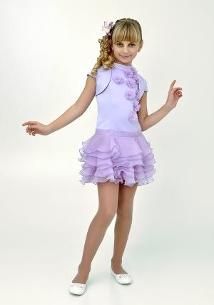 """Элегантное платье """"Лиззи"""" сиреневого цвета с болеро.Очень красивое и очаровательное платье нежного цвета. Оригинальный покрой платья, украшенное шифоновыми цветами и короткой юбкой с воланами. Платье для настоящих модниц!"""