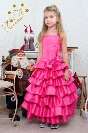 """Нарядное платье """"Мальвина"""" малинового цвета с цветком на поясе.Яркое и красивое платье для настоящих модниц! Оригинальное и красивое платье для любого торжества! Платье на спинке прошито гармошкой, поэтому сидит по фигуре, для девочек стандартной комплекции."""