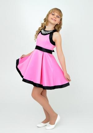 """Нарядное платье """"София"""" розового цвета.Атласное платье розового цвета с черными вставками и жемчугом. Элегантное платье для настоящих модниц. Данное платье застегивается на молнию и завязывается на бант."""