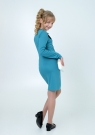 """Трикотажное платье """"Дина"""" бирюзового цвета с кружевом."""