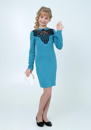 """Трикотажное платье """"Дина"""" бирюзового цвета с кружевом. Элегантное платье для настоящих модниц. Платье идеально для любых случаев и торжеств."""