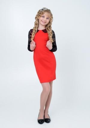"""Нарядное трикотажное платье """"Веста"""" алого цвета. Элегантное платье для настоящих модниц с ажурной вставкой на рукавах. Платье идеально для любых случаев и торжеств."""