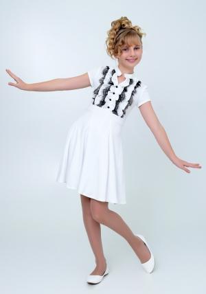 """Трикотажное нарядное платье """"Вера"""" молочного цвета с черным кружевом. Элегантное платье для настоящих модниц.Платье идеально для любых случаев и торжеств."""