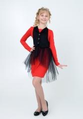 Нарядное трикотажное платье трансформер алого цвета .