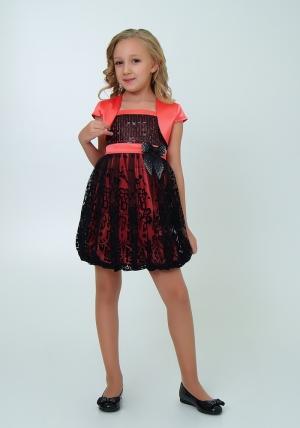 """Нарядное платье """"Кристи"""" цвет арбузный.Лиф платья украшен паетками, юбка из гипюра, пышная в форме балона. Объем изделия регулируется на спине вшитой резинкой. Платье украшают цветок на талии и атласный пояс. Красивый наряд для настоящих модниц."""
