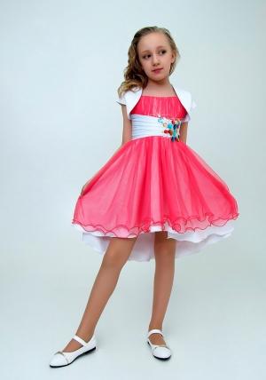 """Нарядное платье с болеро """"Анна"""" цвет арбузный с белым. Очаровательное платье украшенное крупными и разноцветными стразами. Красивое платье для настоящих модниц. Платье на молнии и шнуровке, за счет чего регулируется в объеме. Данный наряд идеален для любых торжеств и праздников."""