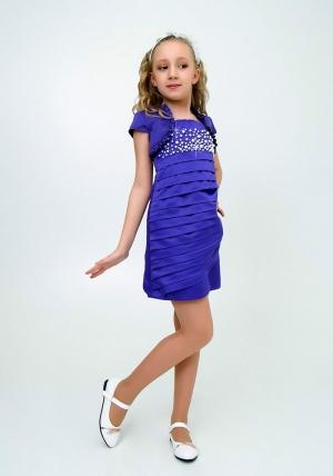 """Нарядное платье с болеро """"Волна"""" цвет фиолетовый.Элегантное платье для настоящих модниц и красавиц. Оригинальный крой платья с жемчугом для любых торжеств и праздников."""
