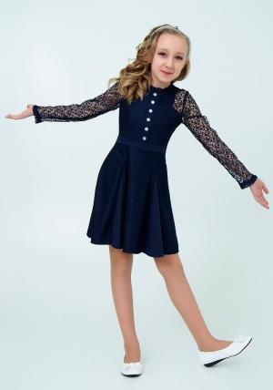 """Нарядное платье с кружевом """"Северина"""" цвет темно-синий. Нежное и красивое платье для настоящих модниц."""
