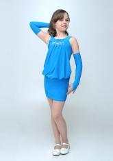 """Элегантное платье """"Николетта"""" бирюзового цвета с перчатками."""