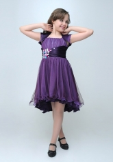 """Нарядное платье """"Анна"""" темно-фиолетового цвета с болеро."""