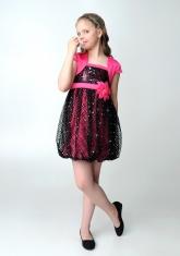 """Нарядное платье """"Кристи"""" малиново-черного цвета с болеро."""