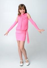 """Элегантное платье """"Эллада"""" розового цвета цвета с перчатками."""
