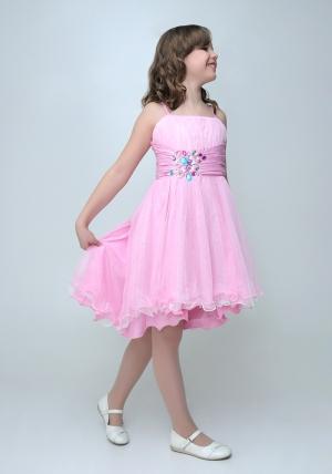 """Нарядное платье """"Анна"""" розового цвета с болеро.Очаровательное платье украшенное крупными и разноцветными стразами. Красивое платье для настоящих модниц. Платье на молнии и шнуровке, за счет чего регулируется в объеме. Данный наряд идеален для любых торжеств и праздников."""