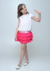 """Нарядное платье """"Калинда"""" бело-малинового цвета."""