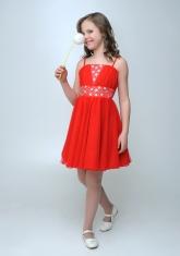 """Нарядное платье """"Юлия"""" красного цвета с болеро."""