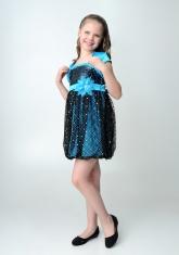 """Нарядное платье """"Кристи"""" бирюзово-черного цвета с болеро."""