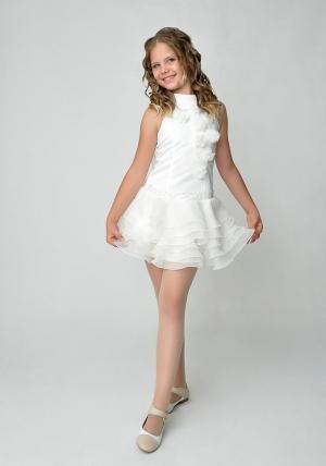 """Элегантное платье """"Лиззи"""" цвета айвори с болеро.Очень красивое и очаровательное платье нежного цвета. Оригинальный покрой платья, украшенное шифоновыми цветами и короткой юбкой с воланами. Платье для настоящих модниц!"""