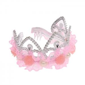 """Детская корона """"Принцесса"""" с кружевом и цветочками.Красивый аксессуар для волос, прекрасное дополнение к любому наряду."""