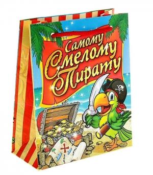 """Пакет """"Самому смелому пирату"""".Подарочная упаковка это отличный выбор для упаковки подарка или аксессуара. Каждый ребенок будет рад получить свой подарок или аксессуар в таком красивом пакете. Идеальная упаковка для подарка в стиле """"Пиратской вечеринки""""."""