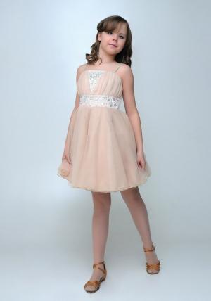 """Нарядное платье с болеро """"Юлия"""" цвета капучино.Изысканное платье со стразами и пышной многослойной юбкой. Красивое платье для настоящих модниц. Платье на молнии и шнуровкой, что хорошо для регулировки объема. Длина платья до колена. Данный наряд идеален для любых торжеств и праздников."""