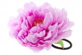 """Большой цветок """"Пион"""" сиреневого цвета на резинке."""