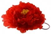 """Большой цветок """"Пион"""" красного цвета на резинке."""