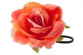 """Цветок на голову """"Роза"""" Real Touch кораллового цвета на резинке."""