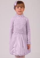 Нарядная блузка сиреневого цвета с длинным рукавом и воротником-стойкой.