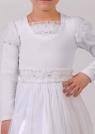 """Нарядная блузка белого цвета из велюра с длинным рукавом """"фонариком""""."""