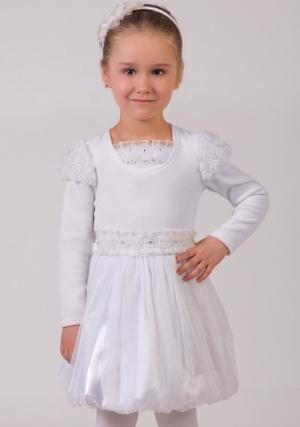 """Нарядная блузка белого цвета из велюра с длинным рукавом """"фонариком"""".Горловина блузки дополнена трикотажной вставкой, отделанной нежными рюшами и ажурными розочками из сеточки со стразинками в серединке.Мягкий материал не только украсит наряд маленькой принцессы, но и согреет её в прохладное время. Немного маломерит!"""